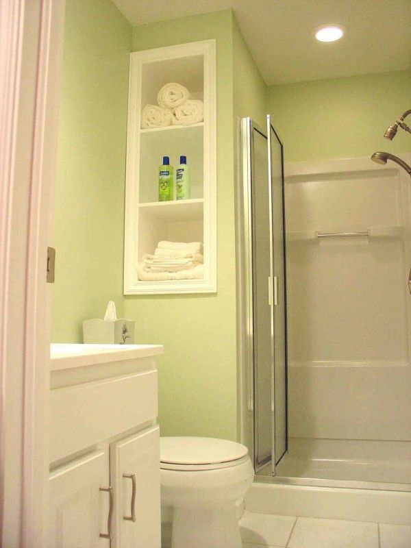 Exceptionnel Ideas Outstanding Bathroom Designs For Small Bathrooms Layouts With  Recessed Shelving Unit On Light Green Wall Paint Alongside White Laminate  Vanity Also ...