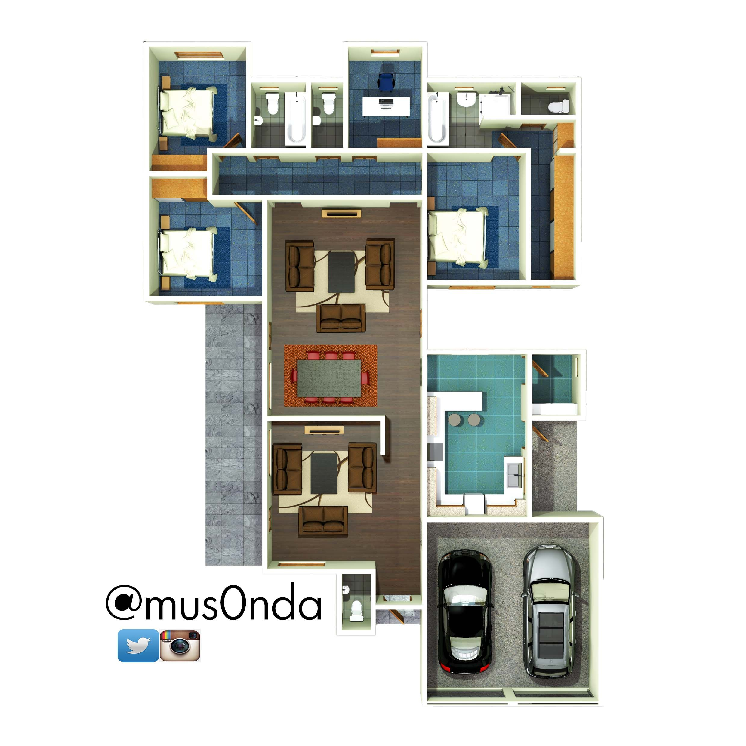 Three Bedroom House Zambia Floor Plans In 2019 Three