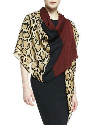 bfb8bad74a00 Lotti Leopard-Print Silk Shawl Beige Sienna