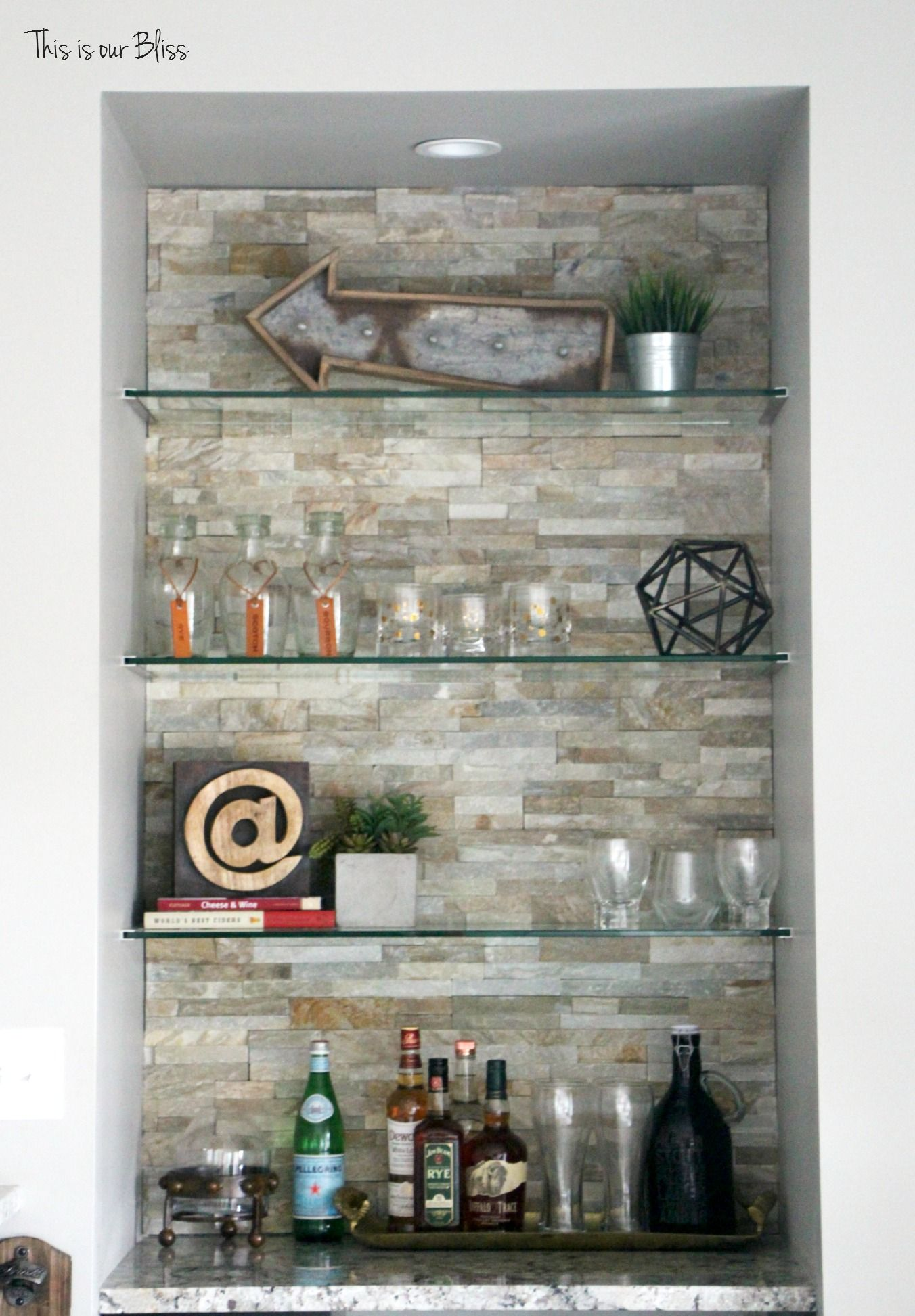 Basement Bar Rustic Industrial Barstools Stacked Stone Wall