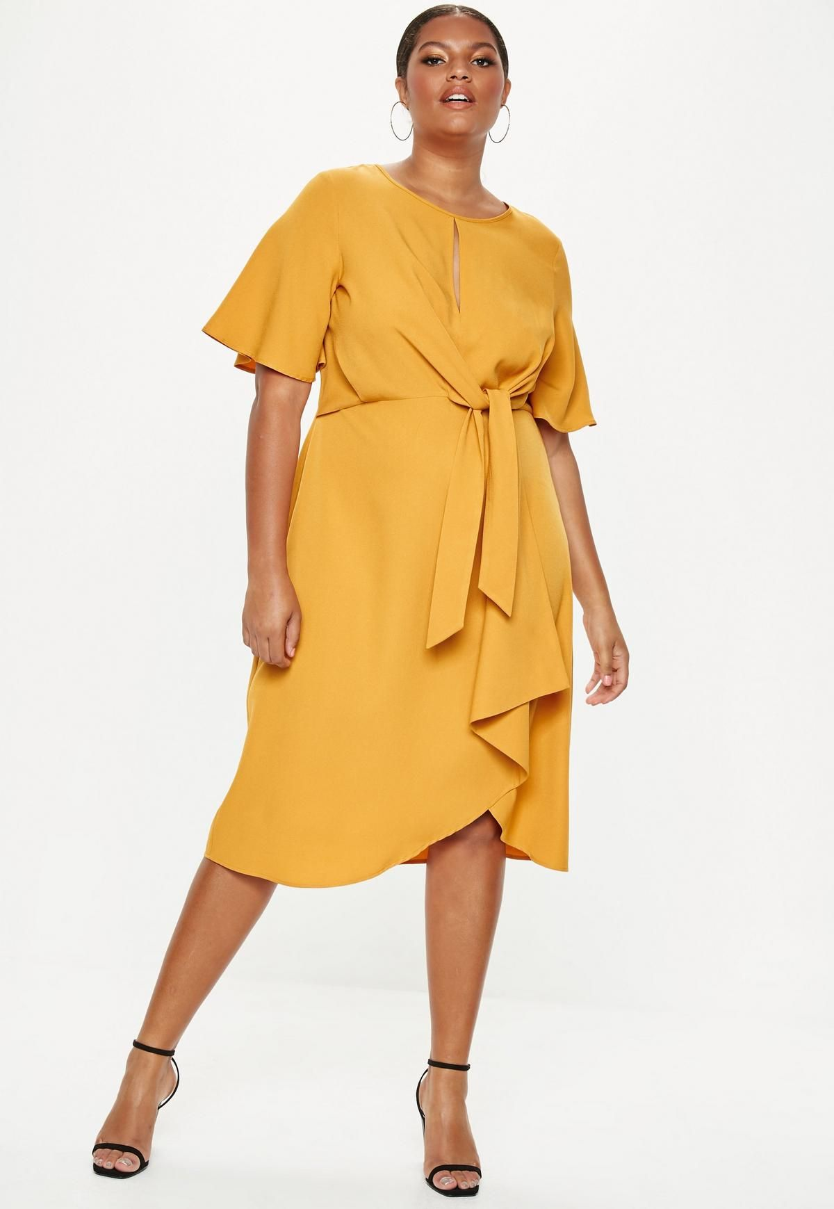 Plus Size Yellow Knot Front Midi Dress   wedding stuff in ...