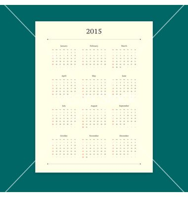 2015 calendar template vector - by issumbosi on VectorStock®