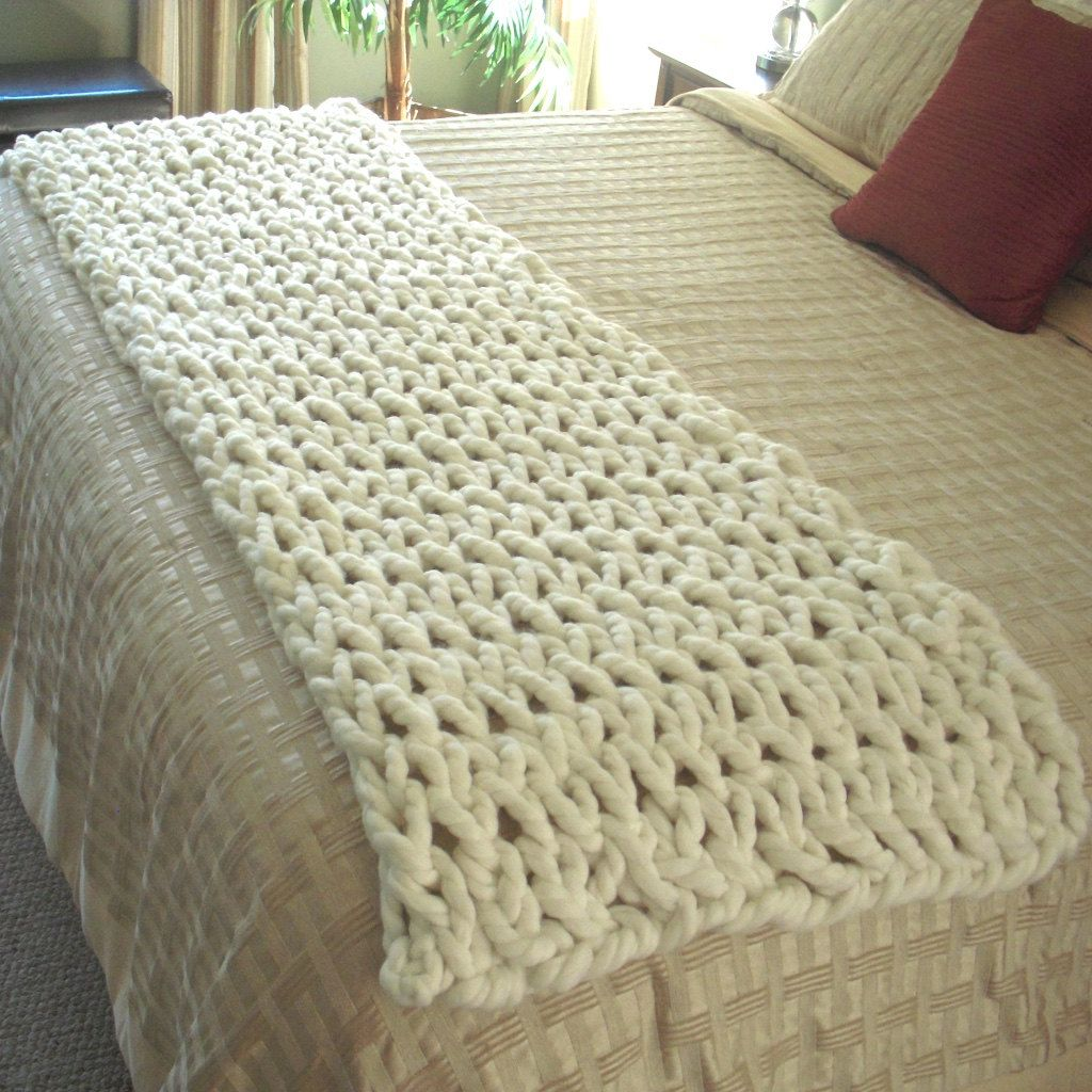 Chunky Knit Throw Fits End Of A King Size Bed Chunky Knit