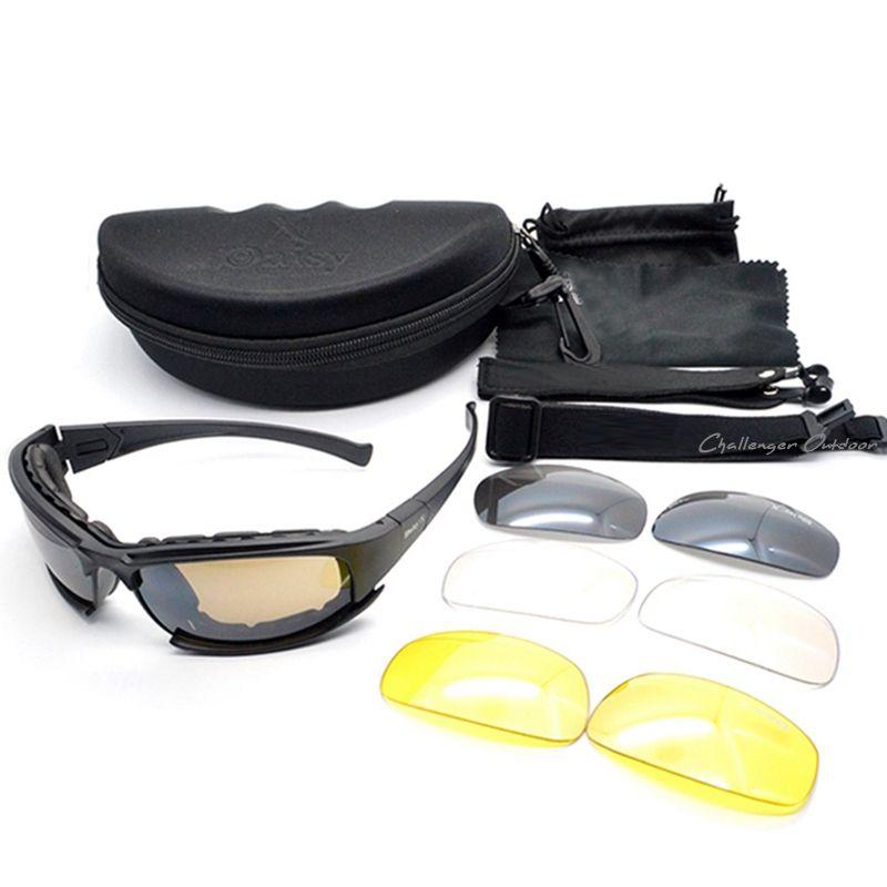 aefd8006475e Army Goggles Sunglasses Men Military Daisy X7 Sun glasses Male 4 Lens Kit  For Men s War