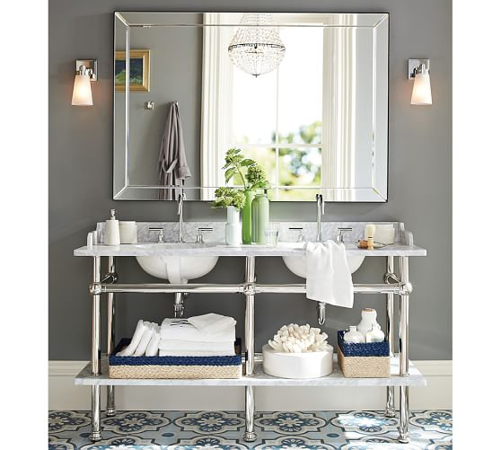 Astor Double Width Mirror Pottery Barn Bathroom Floor Tiles