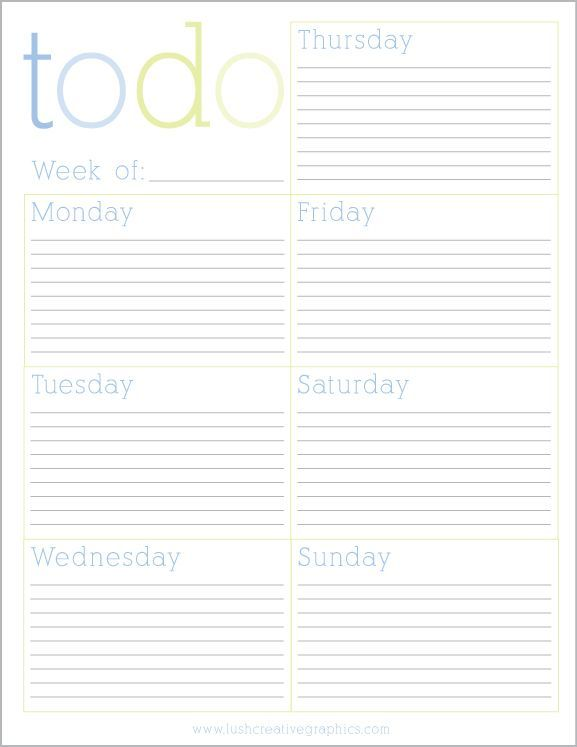 Free Printable Weekly To Do List from Lush Creative agenda - free printable weekly planner