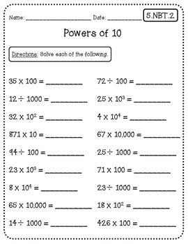 Math Quick Checks 5th Grade Common Core Math Worksheets