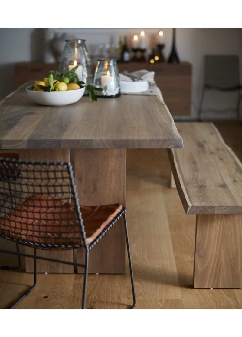 Crate and Barrel Dakota table-- live edge oak with