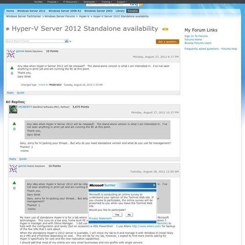 Hyper-V Server 2012 Standalone availability