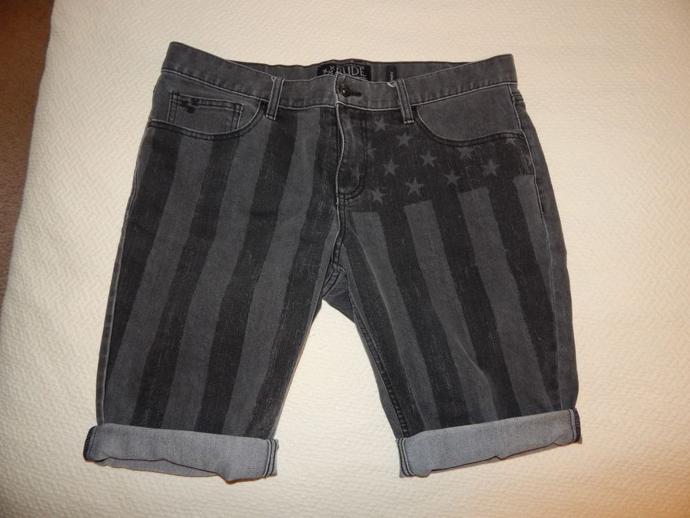 RUDE Faded Black Flag Skinny Mens Cut Off Cuffed Denim Shorts SIZE 36 #RUDE #Denim