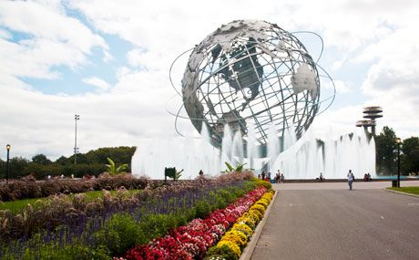"""The Unisphere, a 140-foot-tall stainless steel globe built for the 1964/1965 World's Fair; site of the final alien fight scene in """"Men in Black"""""""