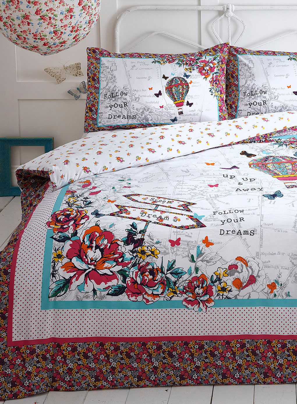 Hot air balloon bedding set Vintage Curiosity Home
