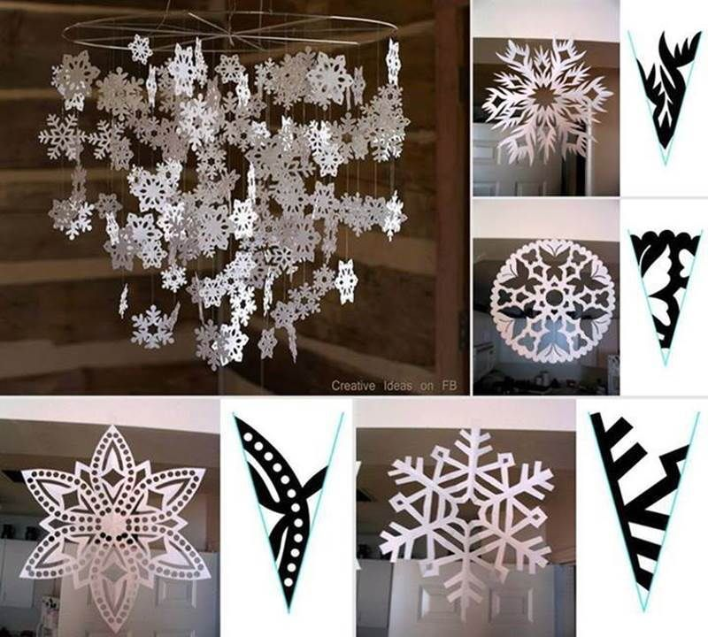 Paper Craft Decoration Home: DIY Beautiful Paper Snowflake Mobile From