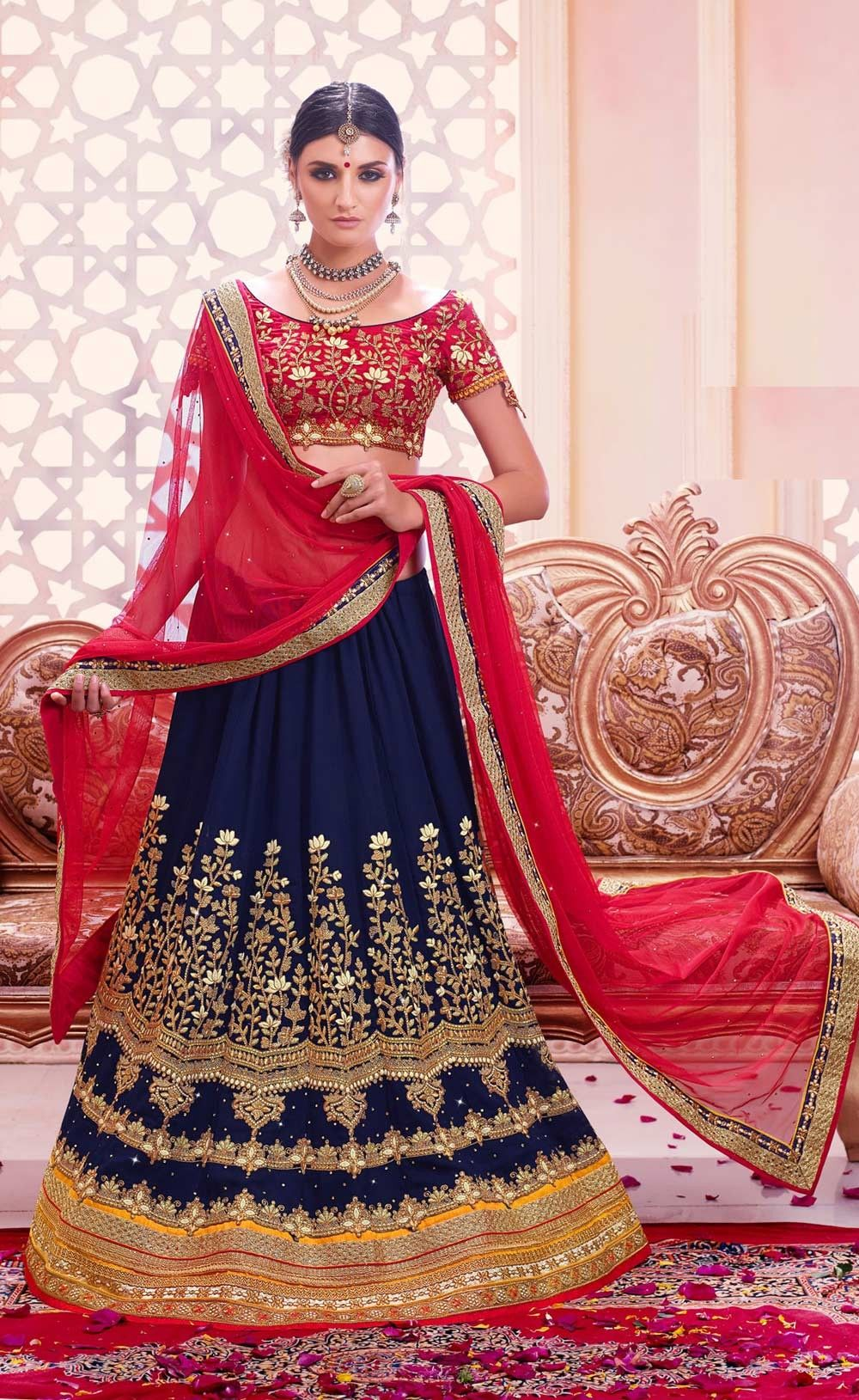 ee44f4e24a Red Brocade Lehenga Choli with Embroidered Net Dupatta | Fashion ...