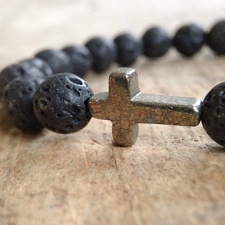 Menus cross bracelet matte black onyx black bracelet pyrite cross