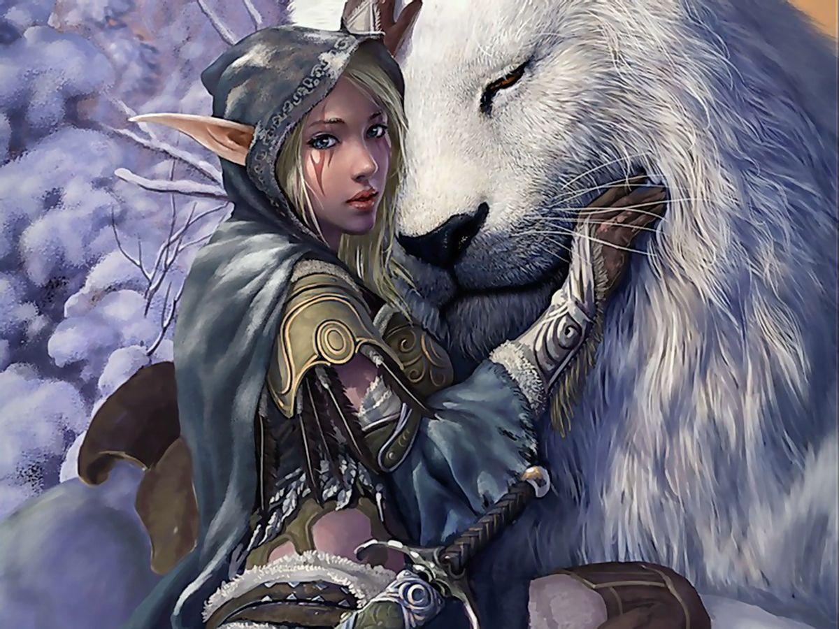 Elf Fairy with White Lion Fantasy Wallpaper | Art-fantesy
