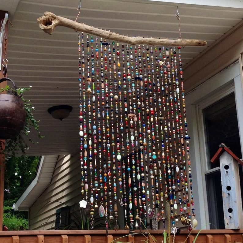 Photo of Handmade Glass Bead Sun Chimes Sunchimes Windchimes Massive Privacy Porch Safari Indoor Outdoor Natural Wood Window Curtain Beaded Hanging