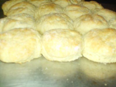 This is my favoite biscuit recipe.  It makes such nice, pretty fluffy biscuits.  It's labor intense, but so worth it.