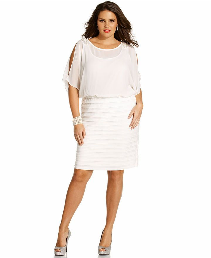 bd0cea33b0fc Xscape Plus Size Dress, Short Split Sleeve Beaded Shutter Pleated Blouson  Sold Out thestylecure.com