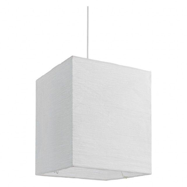 Square Paper White Crinkled Paper Ceiling Light Shade