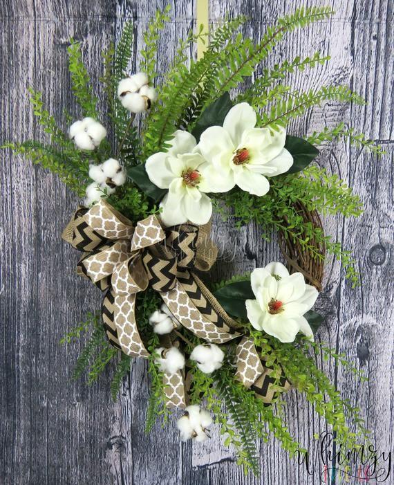 Photo of Wreath for Front Door / White Farmhouse Wreath / Summer Wreath / Magnolia Wreath / CottonBoll Wreath / YearRound Door Wreath / Rustic Wreath