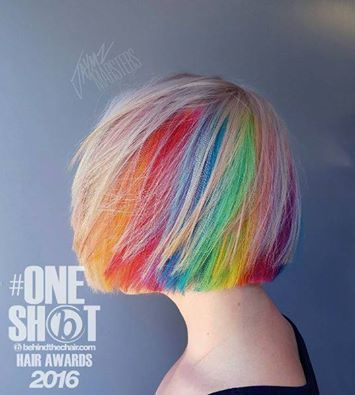 #RainbowHair goals!  One of our favorite sponsored hair artists,  @jaymz.marsters  was nominated as a finalist  for the @behindthechair_com #oneshot hair awards!  Please take a moment to follow the link below, and vote for him in the following categories: Color - #15  Rainbow - #10 Best of luck to you @jaymz.marsters! ❤️