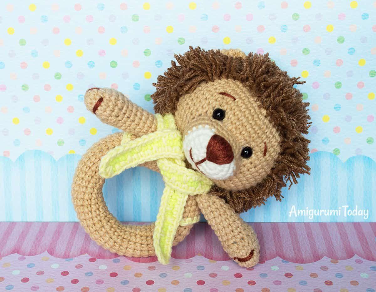 Amigurumi Oso Pijama : Leão bebê chocalho amigurumi padrão por amigurumi hoje apliques