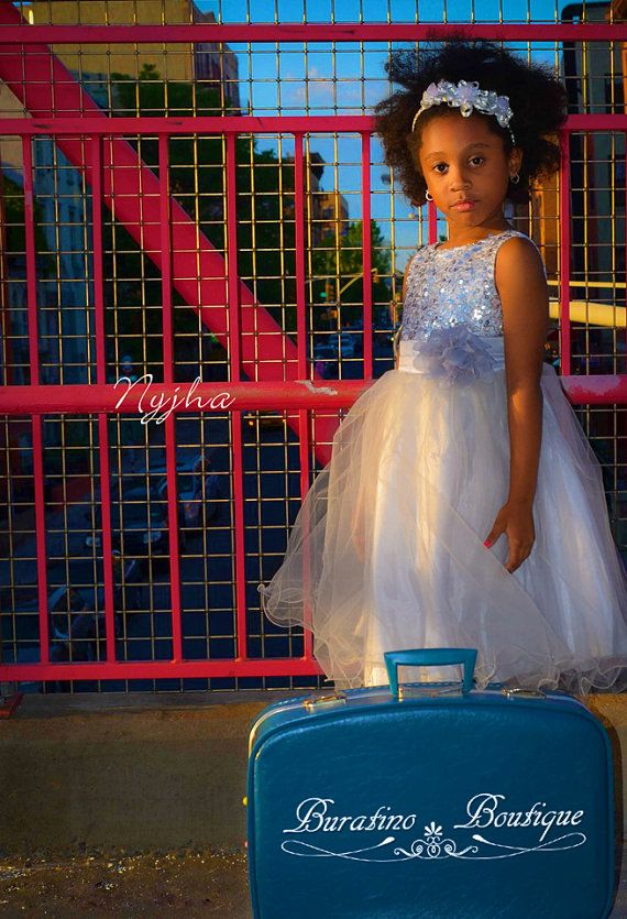 Black flower girl dress with silver sequin