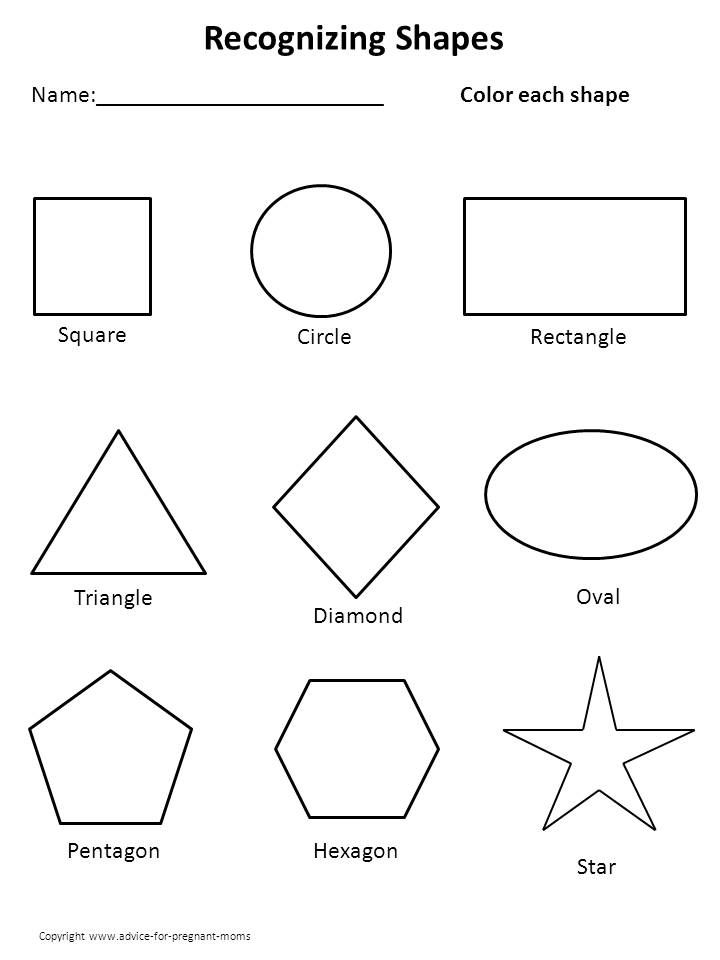 Free Worksheets For Preschool - Shapes | Curriculum/assessments ...