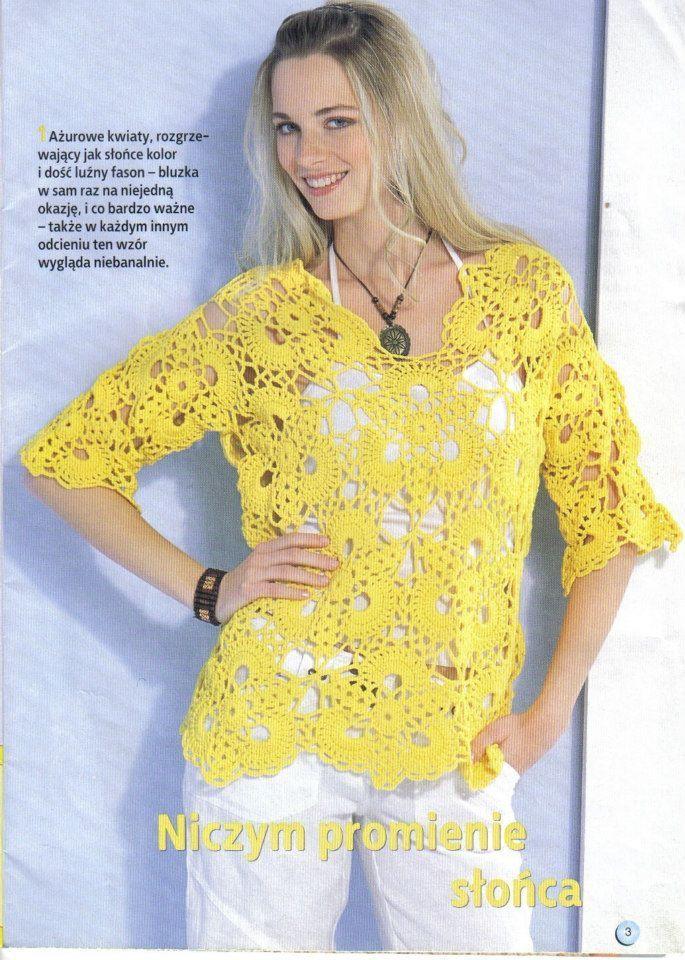 بلوزات كروشيه | crochet & knitting for blouses & skirts & dresses ...