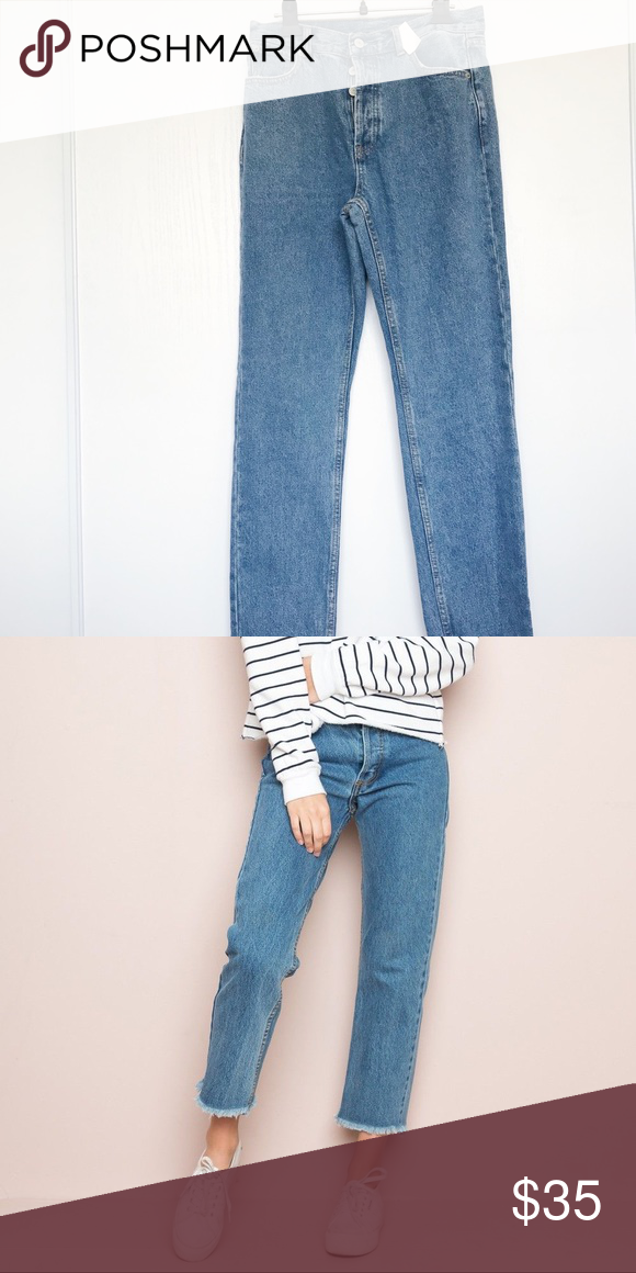 f37fa2b8be7 Brandy Melville medium wash Danny mom jeans No flaws! The bottom is frayed  like the second pic, just couldn't fit it all Brandy Melville Jeans