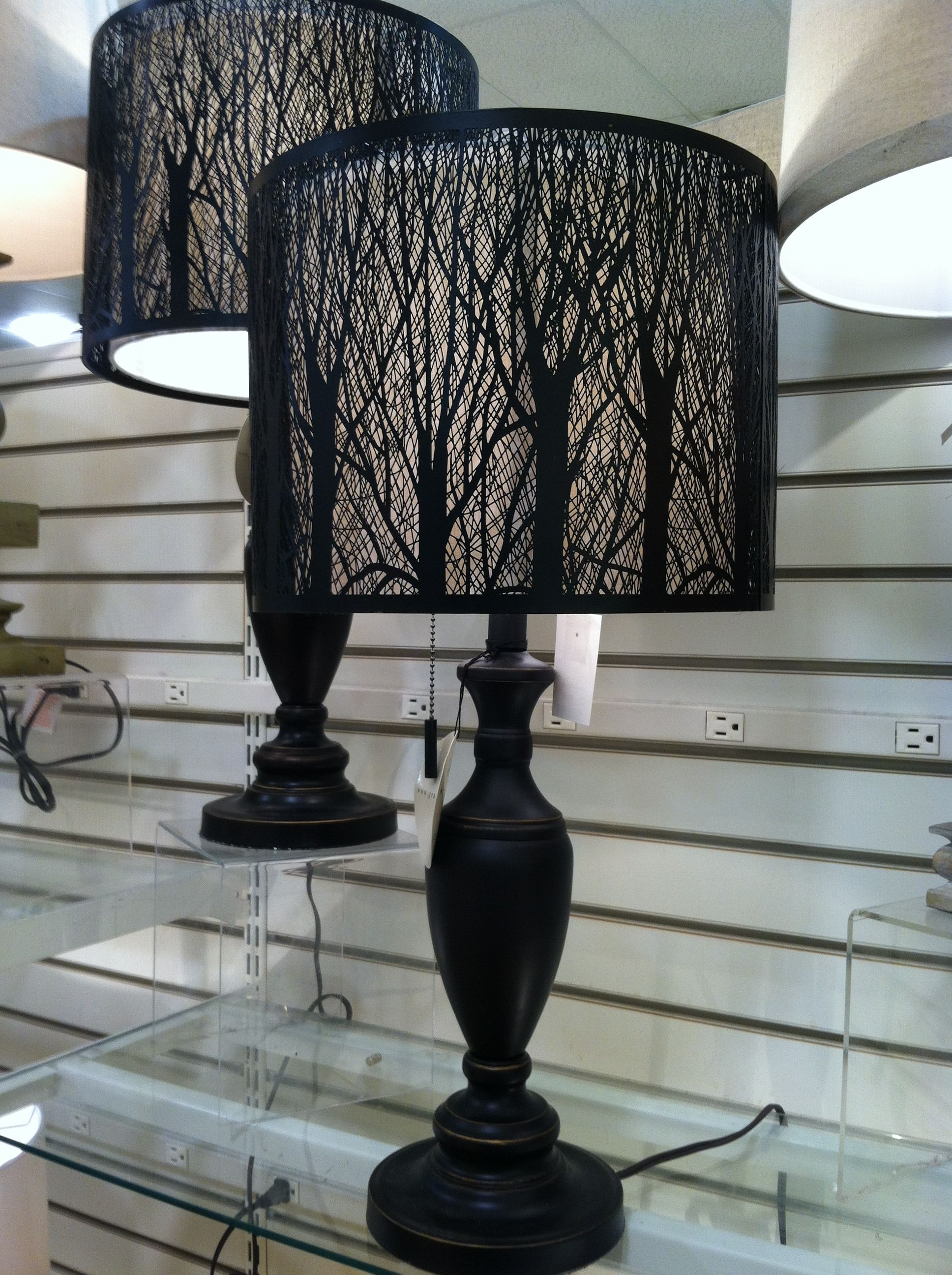 Table lamp with tree branch cut outs on shade very cool looking at homegoods