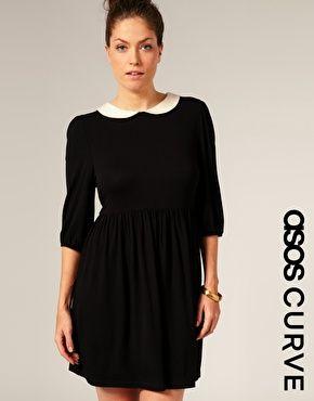 Enlarge ASOS CURVE Peter Pan Collar Jersey Dress - Wednesday ...