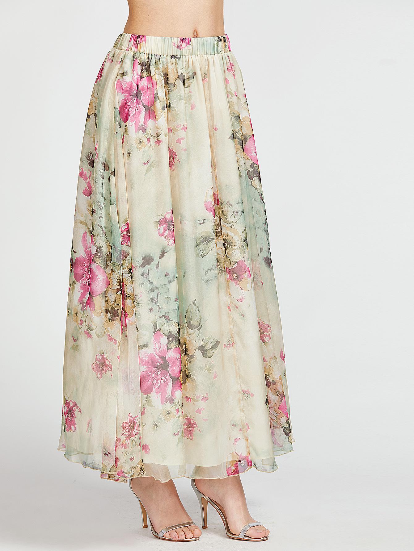 9a396804a Falda larga con estampado de flor de cintura elástica-(Sheinside ...