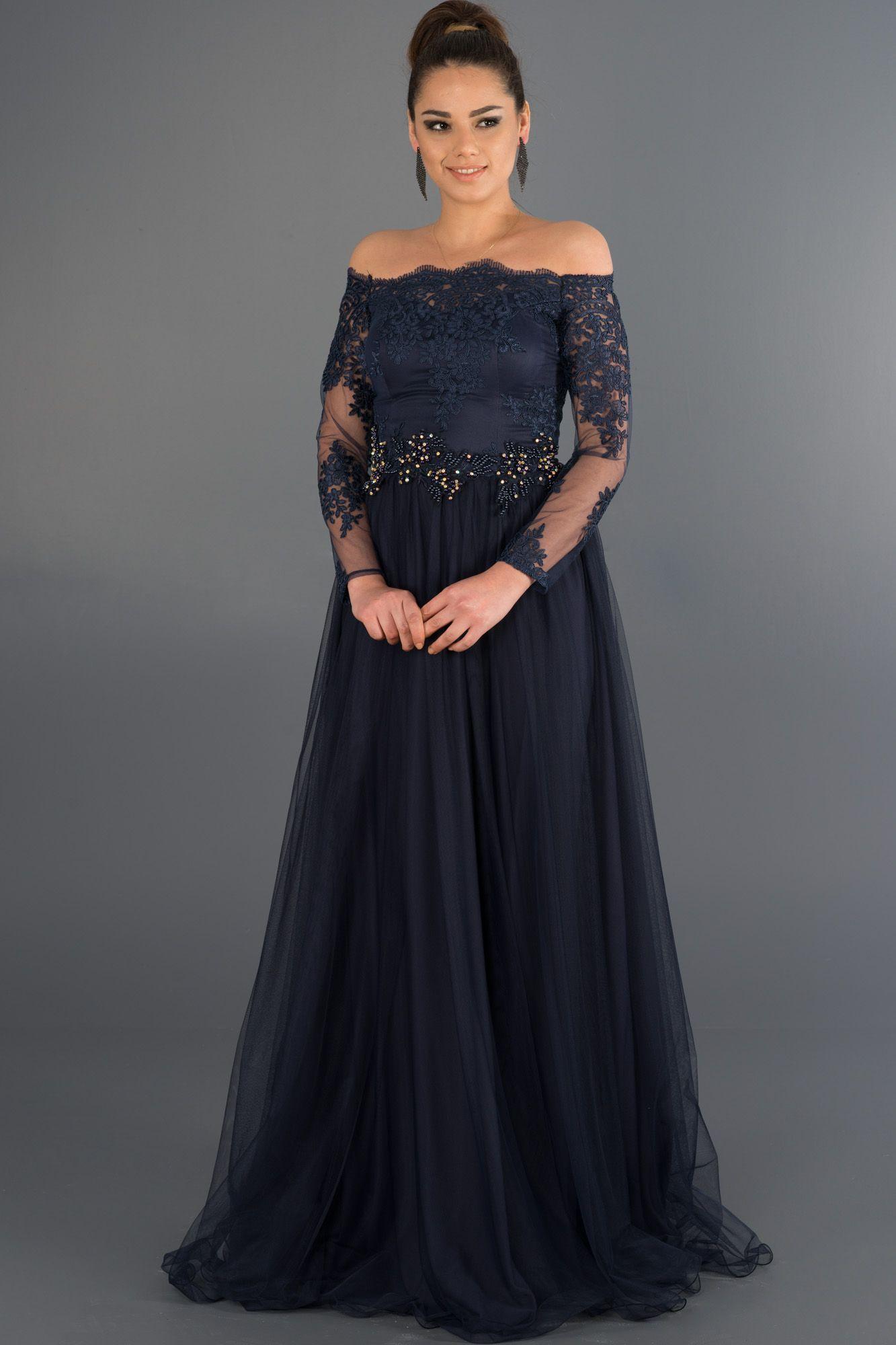 Lacivert Dantelli Uzun Kollu Abiye Abu019 Aksam Elbiseleri Aksamustu Giysileri The Dress
