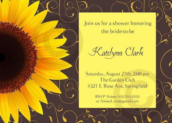 sunflower bridal or baby shower or birthday invitation printable