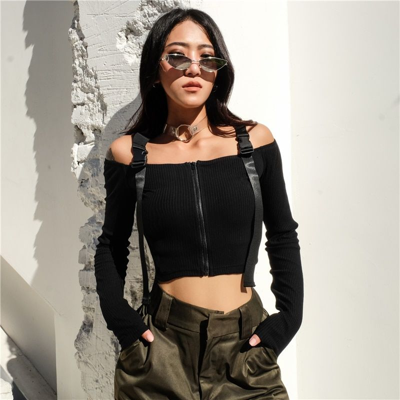 3b35b2cb9ee033 7Sweetown Vogue Off The Shoulder Long Sleeve Crop Tops T Shirt For Women  Sexy Korean Style Summer Autumn Black Harajuku Tshirt