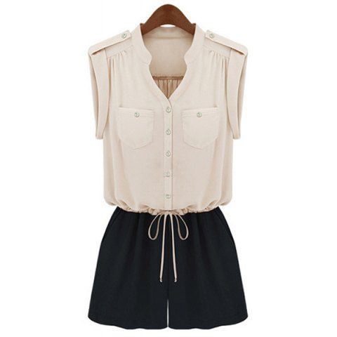 Casual Style V-Neck Color Splicing Drawstring Waist
