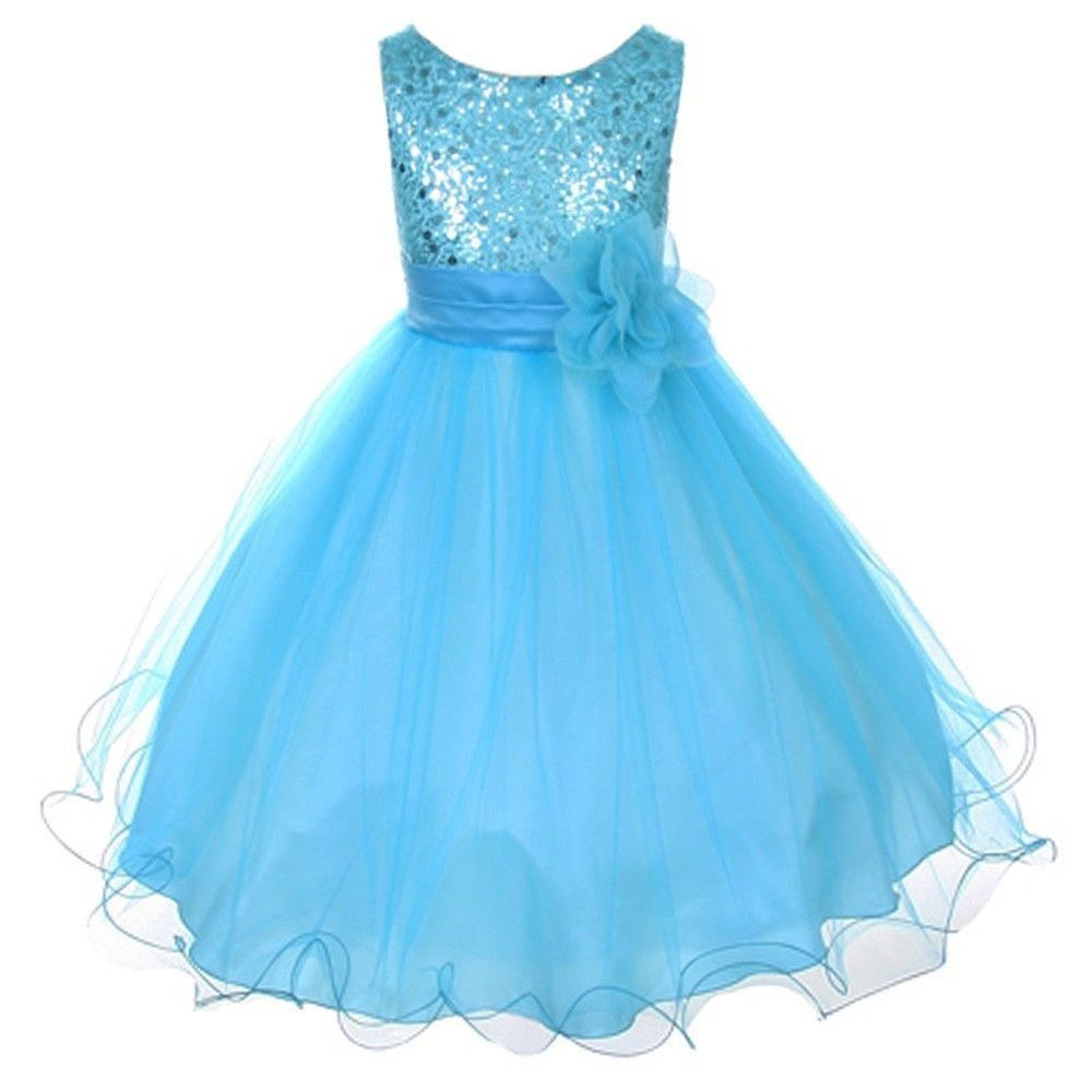 New Flower Girls Dress Sequin Glitter Beaded Satin Party Pageant ...