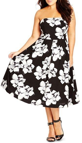 bc2f7bf5d0bb9 City Chic  Rose  Floral Print Strapless Midi Dress (Plus Size ...