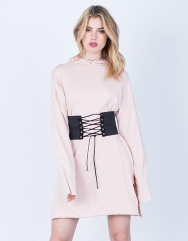 front corset hoodie tunic dress  tunic hoodie dresses