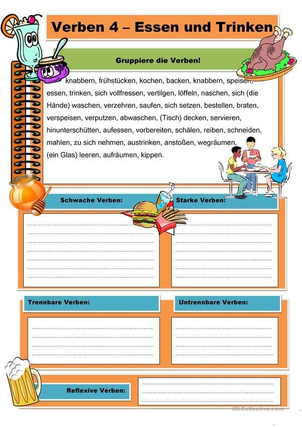 Verben 4 - Essen und Trinken | Deutsch für Kinder (Arbeitsblätter ...