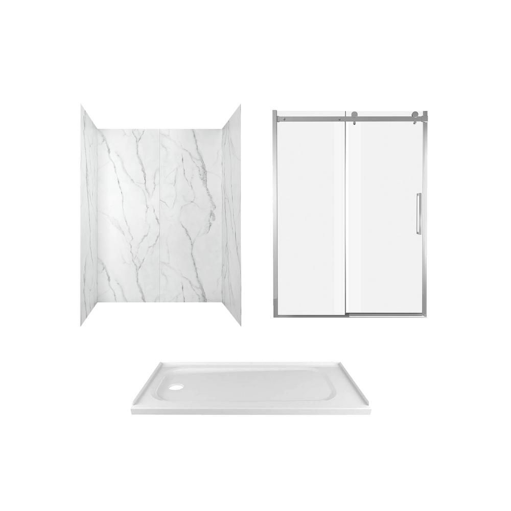 American Standard Passage 60 In X 72 In 6 Piece Glue Up Alcove Shower Wall Door And Base Kit Wtih Left Hand Drain In Serene Marble Frameless Shower Doors Shower Kits Complete Bathrooms