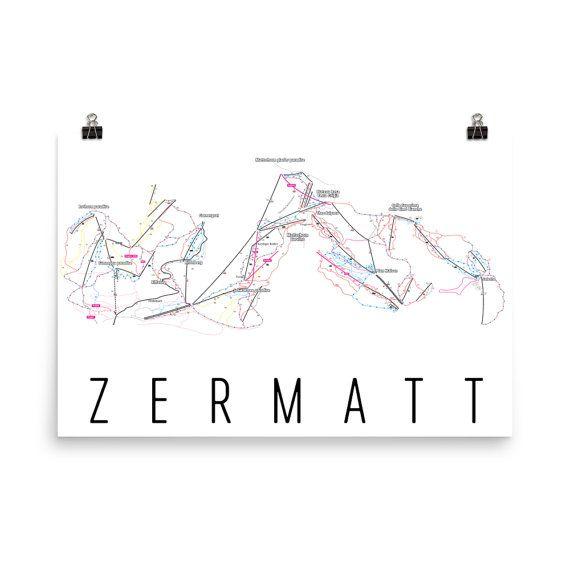 Zermatt Ski Map Art, Zermatt Switzerland, Swiss, Zermatt Trail Map on cervinia italy map, val thorens resort map, avoriaz resort map, crystal mountain resort map, hogle zoo map, jordanelle state park map, aspen resort map, lake geneva resort map, verbier resort map, ski resort map, sun valley resort map, great salt lake map, deer creek reservoir map, tignes resort map,