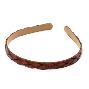 Cognac braided leather headband - 1.3 cm