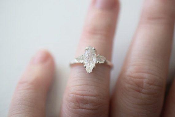 Three Stone Ring Raw Diamond Engagement Ring Size 5 Wedding Etsy Raw Diamond Engagement Rings Engagement Ring Sizes Sterling Silver Rings Bands