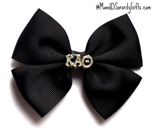 Kappa Alpha Theta Hair Bow with Greek Letters as shown on ribbon covered alligator clip. M Sorority Gifts exclusive product. $5.98