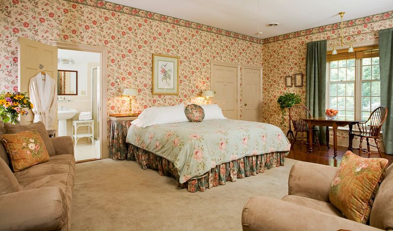 King bed, wood-burning fireplace, private bath with large double whirlpool and private patio. Starting at $290 #bramptoninn #bedandbreakfast