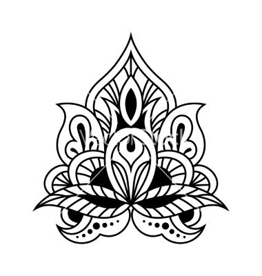 Bold black and white floral persian design vector by