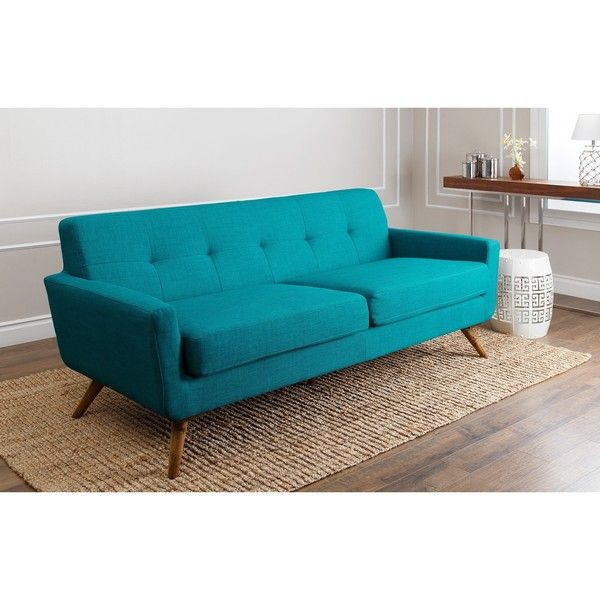 Abbyson Living Bradley Petrol Blue Fabric Mid Century Style Sofa 1 000 Liked On Polyvore Featuring H Teal Sofa Mid Century Style Sofas Blue Fabric Sofa